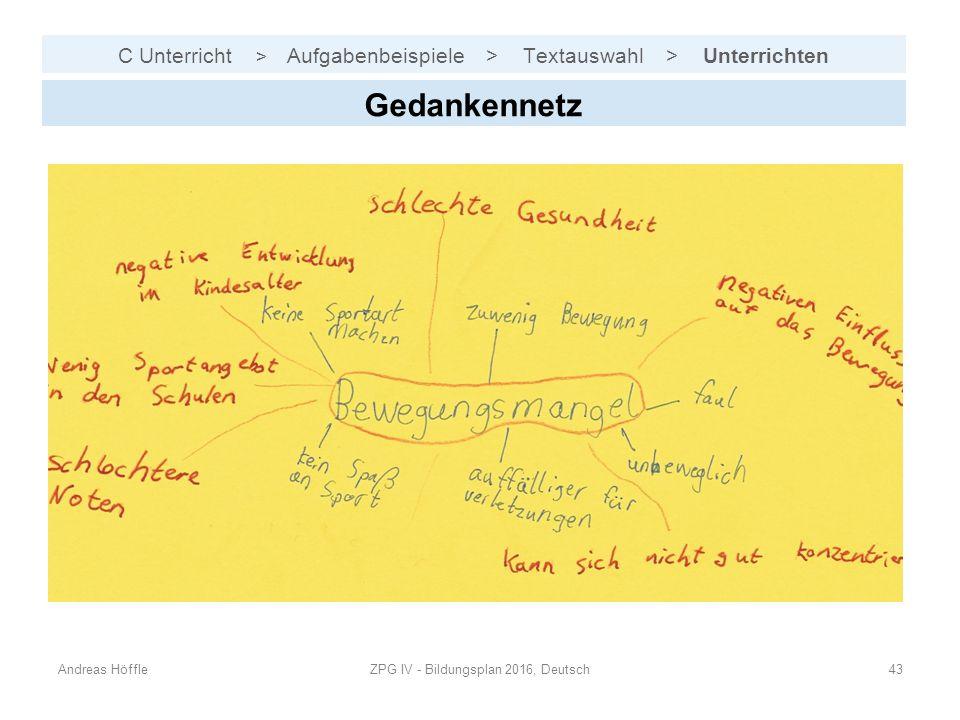 C Unterricht > Aufgabenbeispiele > Textauswahl > Unterrichten Andreas HöffleZPG IV - Bildungsplan 2016, Deutsch43 Gedankennetz