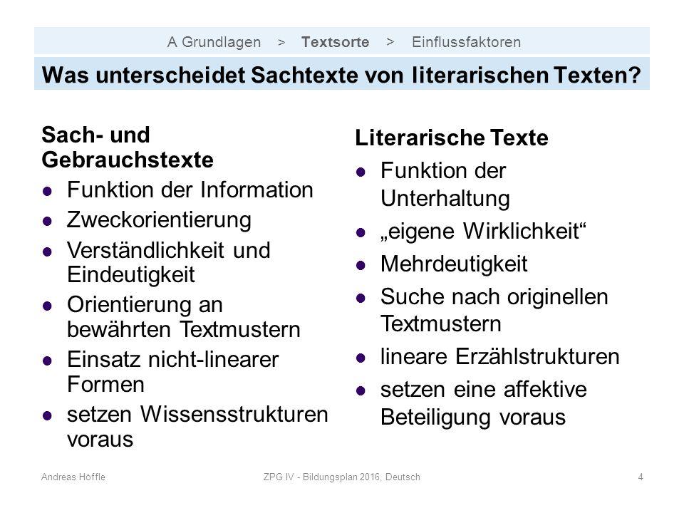 A Grundlagen > Textsorte > Einflussfaktoren Andreas HöffleZPG IV - Bildungsplan 2016, Deutsch4 Was unterscheidet Sachtexte von literarischen Texten? S
