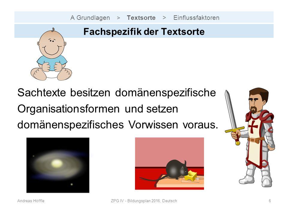 A Grundlagen > Textsorte > Einflussfaktoren Andreas HöffleZPG IV - Bildungsplan 2016, Deutsch6 Fachspezifik der Textsorte Sachtexte besitzen domänensp