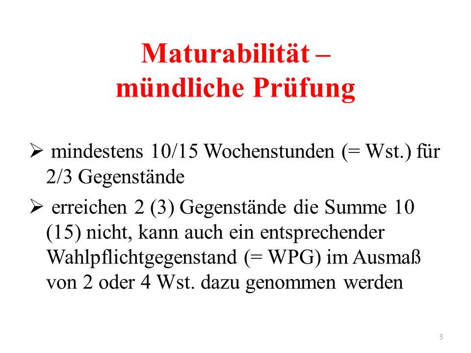 3 Maturabilität – mündliche Prüfung  mindestens 10/15 Wochenstunden (= Wst.) für 2/3 Gegenstände  erreichen 2 (3) Gegenstände die Summe 10 (15) nich