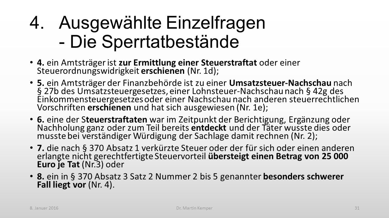4.Ausgewählte Einzelfragen - Die Sperrtatbestände 4.