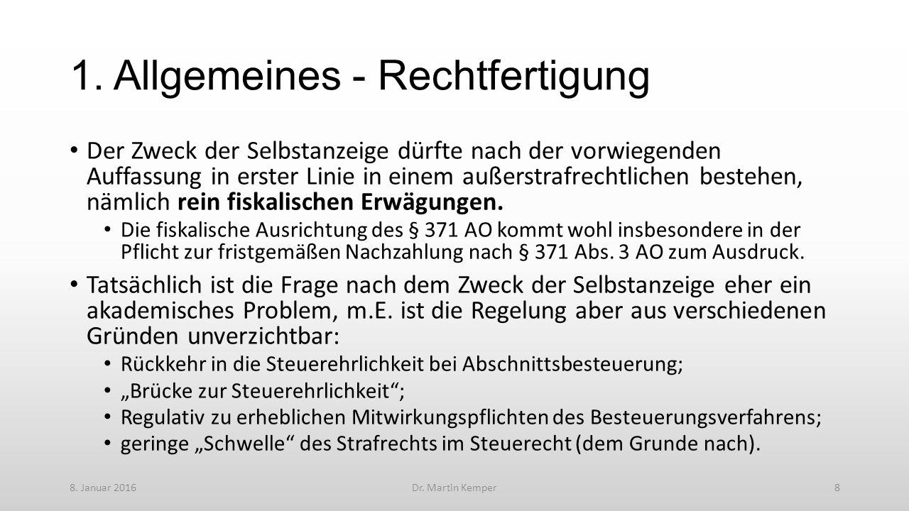 4. Ausgewählte Einzelfragen 8. Januar 2016Dr. Martin Kemper19