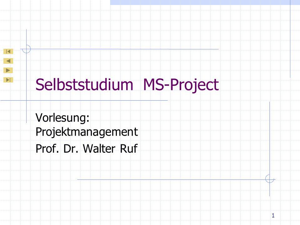 Prof.Dr.W.Ruf Projektmanagement – MS-Project Netzplandiagramm Knoten enthalten 6 Teilbereiche: Vorgangsname Vorgangsnummer Dauer Vorgangsbeginn Vorgangsende Ressource Anordnungsbeziehungen durch Linien abgeschlossene Vorgänge durch gekreuzte Linien Vorgänge in Arbeit: diagonale Linie 52/66