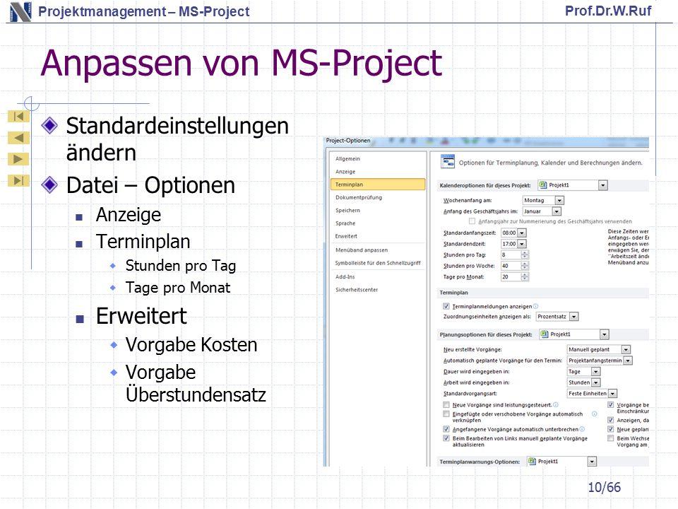 Prof.Dr.W.Ruf Projektmanagement – MS-Project Anpassen von MS-Project Standardeinstellungen ändern Datei – Optionen Anzeige Terminplan  Stunden pro Tag  Tage pro Monat Erweitert  Vorgabe Kosten  Vorgabe Überstundensatz 10/66