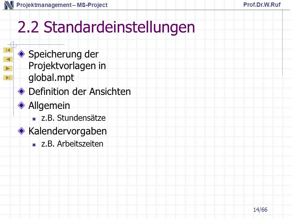 Prof.Dr.W.Ruf Projektmanagement – MS-Project 2.2 Standardeinstellungen Speicherung der Projektvorlagen in global.mpt Definition der Ansichten Allgemein z.B.
