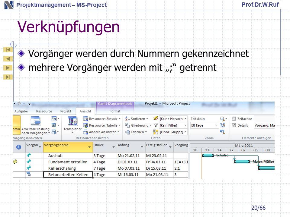 """Prof.Dr.W.Ruf Projektmanagement – MS-Project Verknüpfungen Vorgänger werden durch Nummern gekennzeichnet mehrere Vorgänger werden mit """"; getrennt 20/66"""