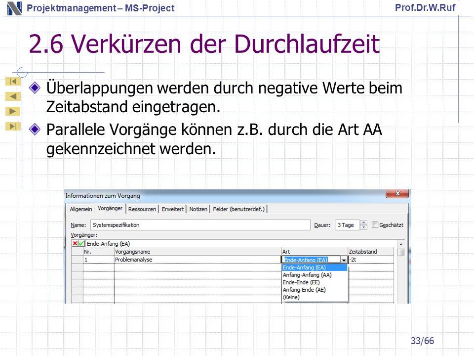 Prof.Dr.W.Ruf Projektmanagement – MS-Project 2.6 Verkürzen der Durchlaufzeit Überlappungen werden durch negative Werte beim Zeitabstand eingetragen.