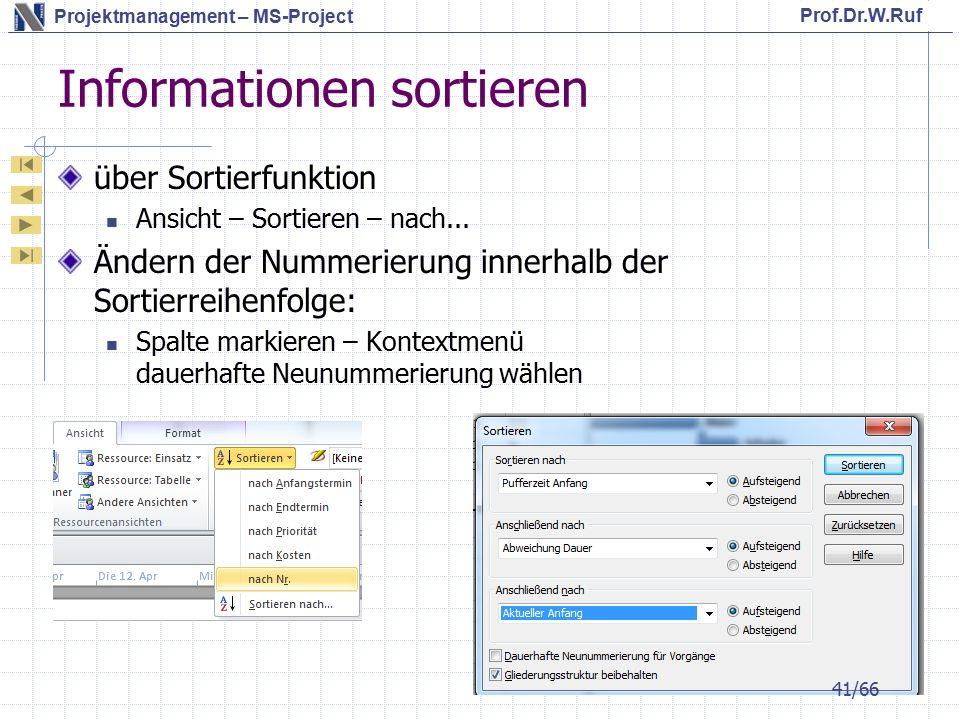Prof.Dr.W.Ruf Projektmanagement – MS-Project Informationen sortieren über Sortierfunktion Ansicht – Sortieren – nach...