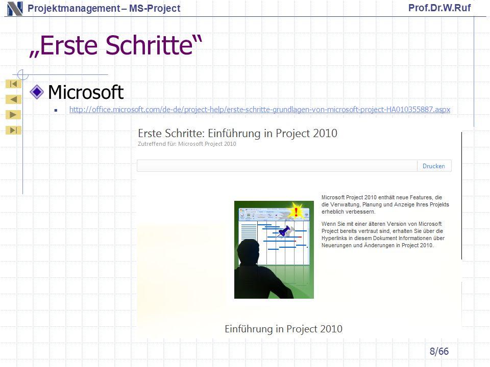 Prof.Dr.W.Ruf Projektmanagement – MS-Project Vorgänge Vorgänge können auf bestimmte Anfangs – / End-Termine gelegt werden 19/66