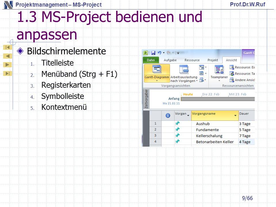 Prof.Dr.W.Ruf Projektmanagement – MS-Project 4.