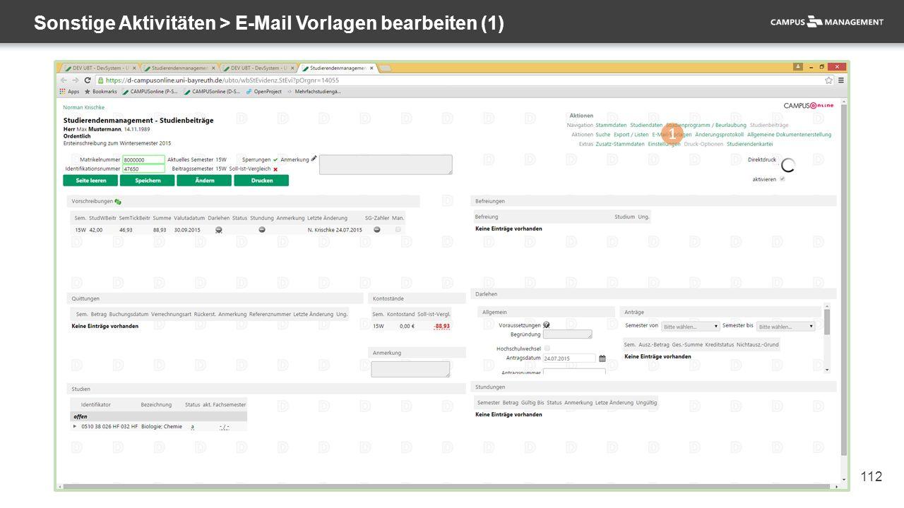 112 Sonstige Aktivitäten > E-Mail Vorlagen bearbeiten (1) 1