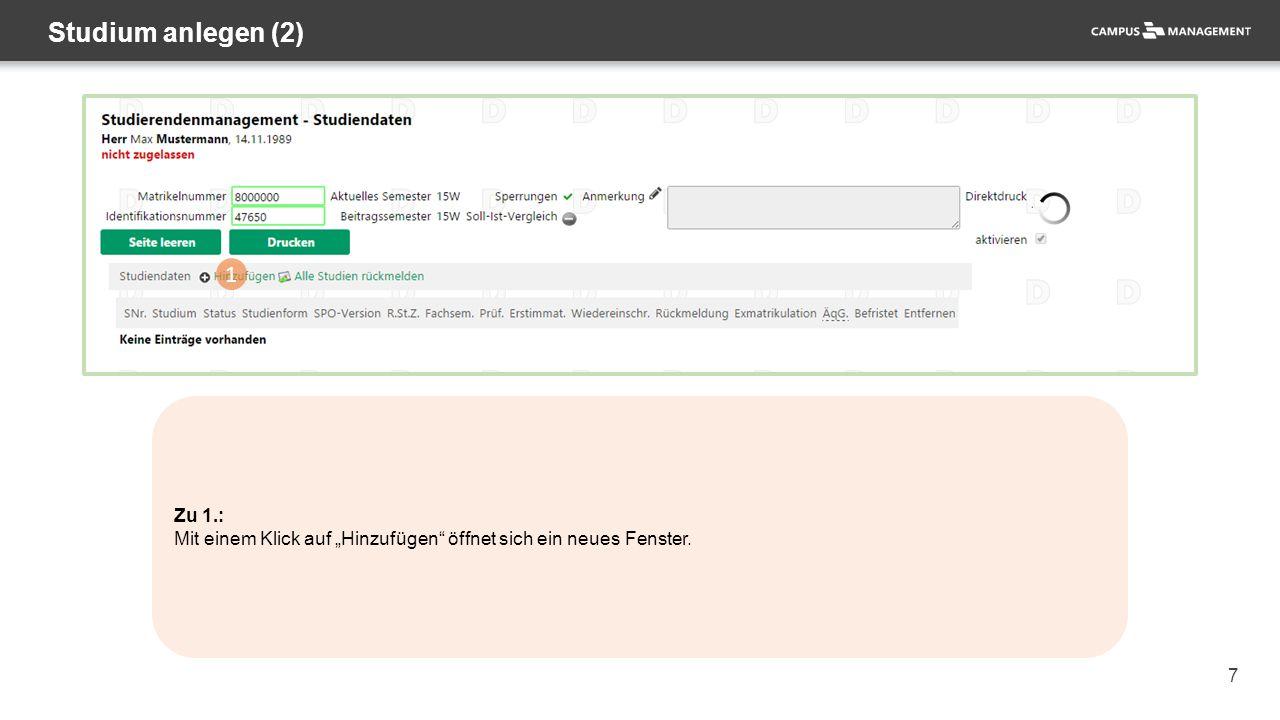 """98 Exmatrikulation (7) 1 Zu 1.: Mit einem Klick auf die Schaltfläche """"Ändern können Sie die Bearbeitung an den Stammdaten vornehmen."""