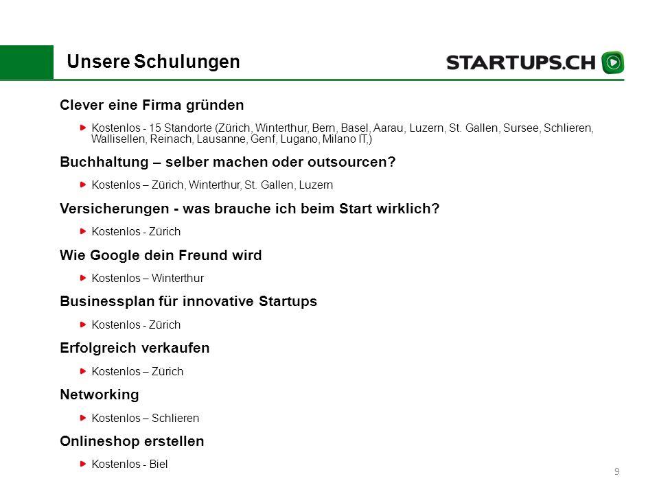 9 Unsere Schulungen Clever eine Firma gründen Kostenlos - 15 Standorte (Zürich, Winterthur, Bern, Basel, Aarau, Luzern, St.