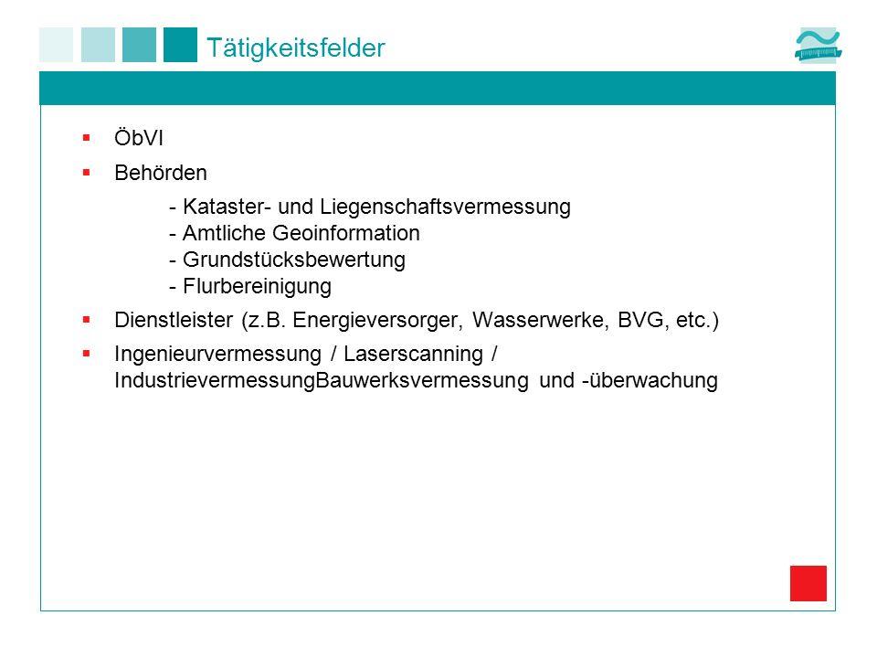 Tätigkeitsfelder  ÖbVI  Behörden - Kataster- und Liegenschaftsvermessung - Amtliche Geoinformation - Grundstücksbewertung - Flurbereinigung  Dienst