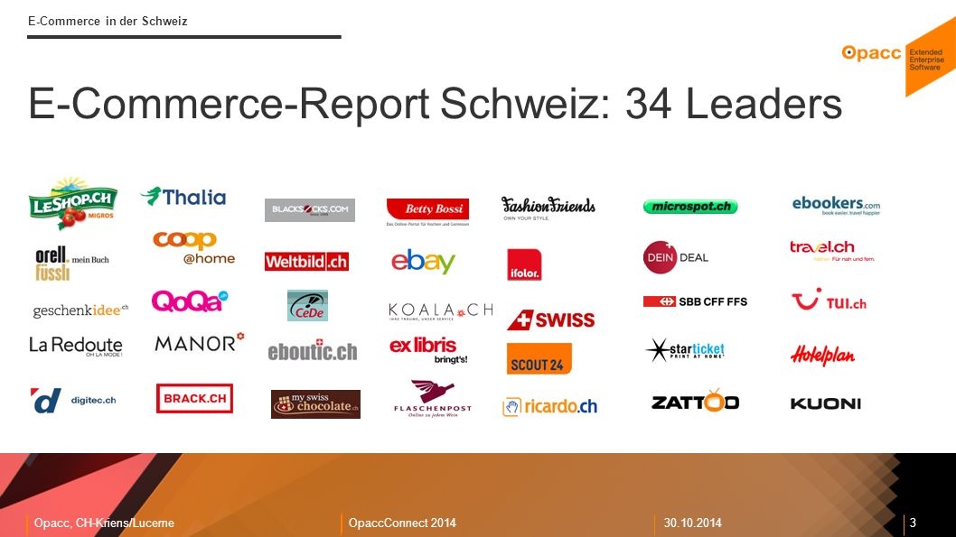 Opacc, CH-Kriens/LucerneOpaccConnect E-Commerce in der Schweiz E-Commerce-Report Schweiz: 34 Leaders