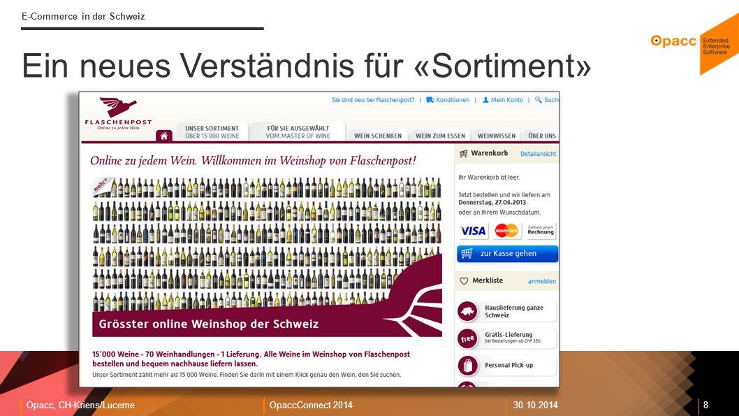 Opacc, CH-Kriens/LucerneOpaccConnect 201430.10.2014 8 E-Commerce in der Schweiz Ein neues Verständnis für «Sortiment»