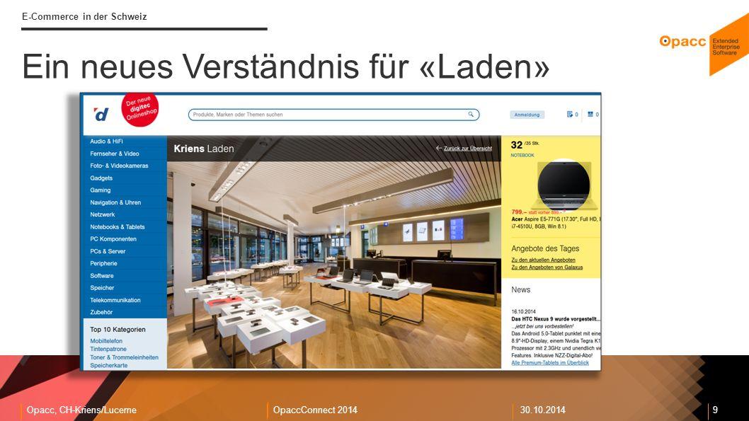 Opacc, CH-Kriens/LucerneOpaccConnect 201430.10.2014 9 E-Commerce in der Schweiz Ein neues Verständnis für «Laden»