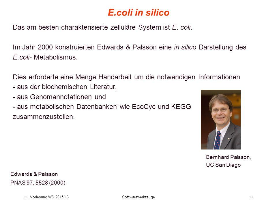 11. Vorlesung WS 2015/16Softwarewerkzeuge11 E.coli in silico Edwards & Palsson PNAS 97, 5528 (2000) Das am besten charakterisierte zelluläre System is