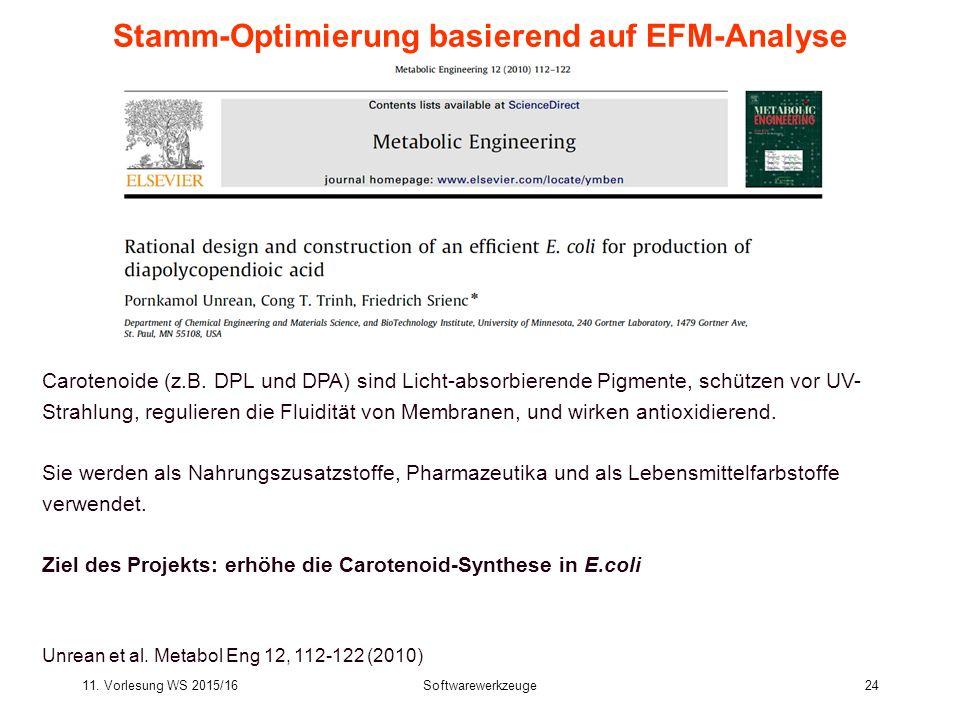 11. Vorlesung WS 2015/16Softwarewerkzeuge24 Stamm-Optimierung basierend auf EFM-Analyse Carotenoide (z.B. DPL und DPA) sind Licht-absorbierende Pigmen