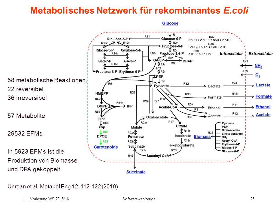 11. Vorlesung WS 2015/16Softwarewerkzeuge25 Metabolisches Netzwerk für rekombinantes E.coli 58 metabolische Reaktionen, 22 reversibel 36 irreversibel