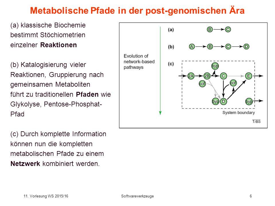 11. Vorlesung WS 2015/16Softwarewerkzeuge6 Metabolische Pfade in der post-genomischen Ära (a) klassische Biochemie bestimmt Stöchiometrien einzelner R