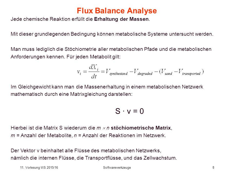 11. Vorlesung WS 2015/16Softwarewerkzeuge8 Flux Balance Analyse Jede chemische Reaktion erfüllt die Erhaltung der Massen. Mit dieser grundlegenden Bed