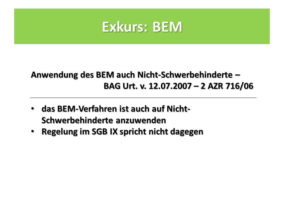 Anwendung des BEM auch Nicht-Schwerbehinderte – BAG Urt.
