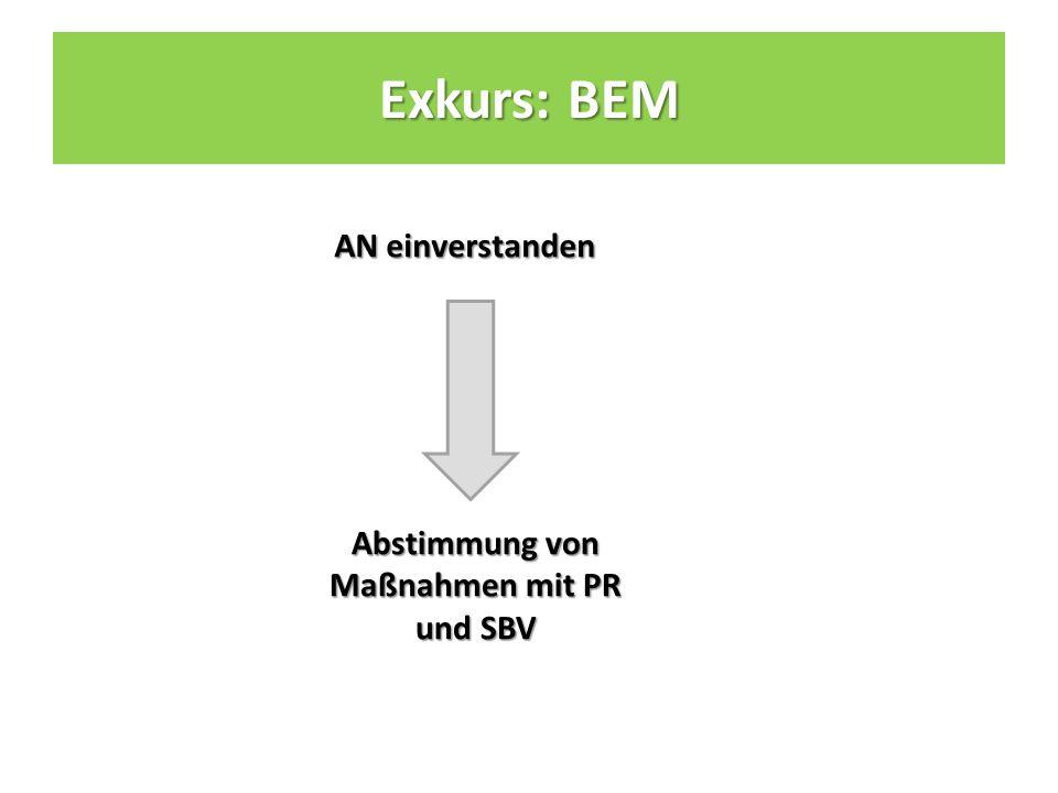 AN einverstanden Abstimmung von Maßnahmen mit PR und SBV Exkurs: BEM