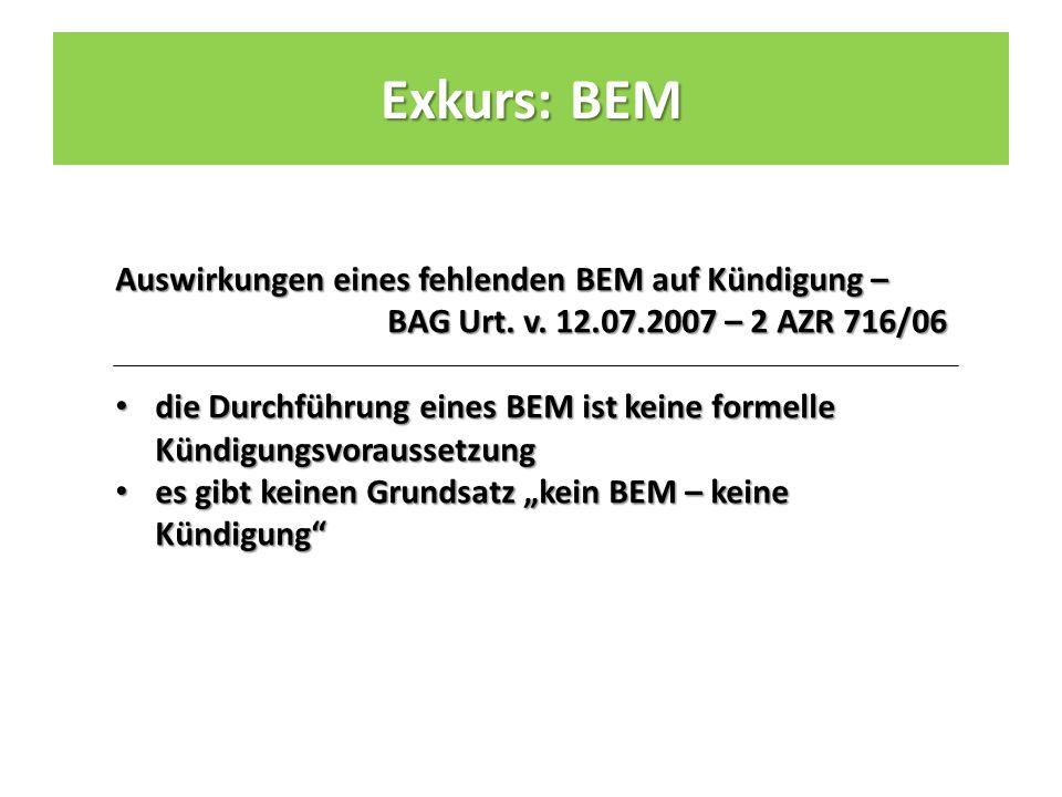 Auswirkungen eines fehlenden BEM auf Kündigung – BAG Urt.