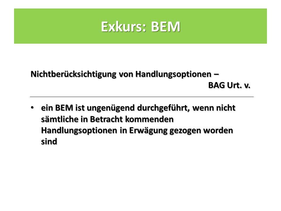 Nichtberücksichtigung von Handlungsoptionen – BAG Urt.