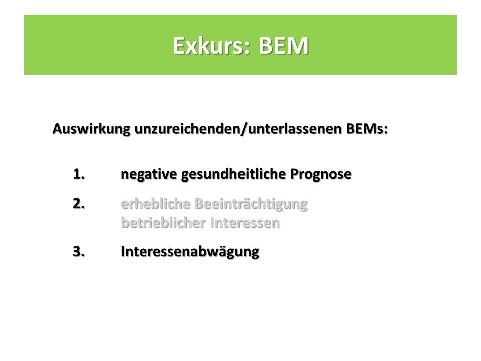 Auswirkung unzureichenden/unterlassenen BEMs: 1.negative gesundheitliche Prognose 2.erhebliche Beeinträchtigung betrieblicher Interessen 3.Interessenabwägung Exkurs: BEM