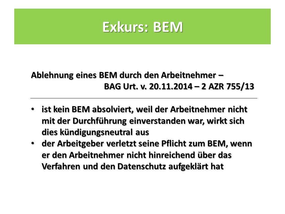 Ablehnung eines BEM durch den Arbeitnehmer – BAG Urt.