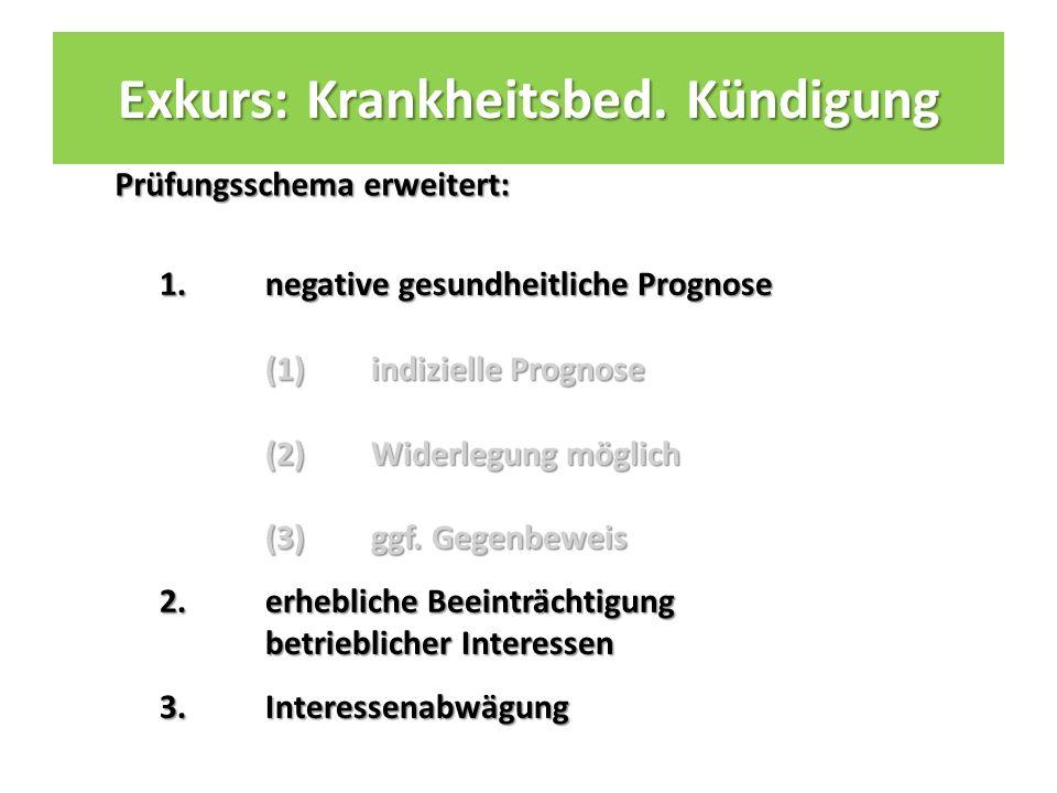 Prüfungsschema erweitert: 1.negative gesundheitliche Prognose (1) indizielle Prognose (2) Widerlegung möglich (3) ggf.