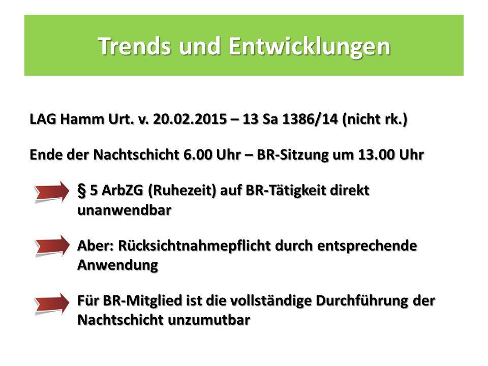 Trends und Entwicklungen LAG Hamm Urt. v.