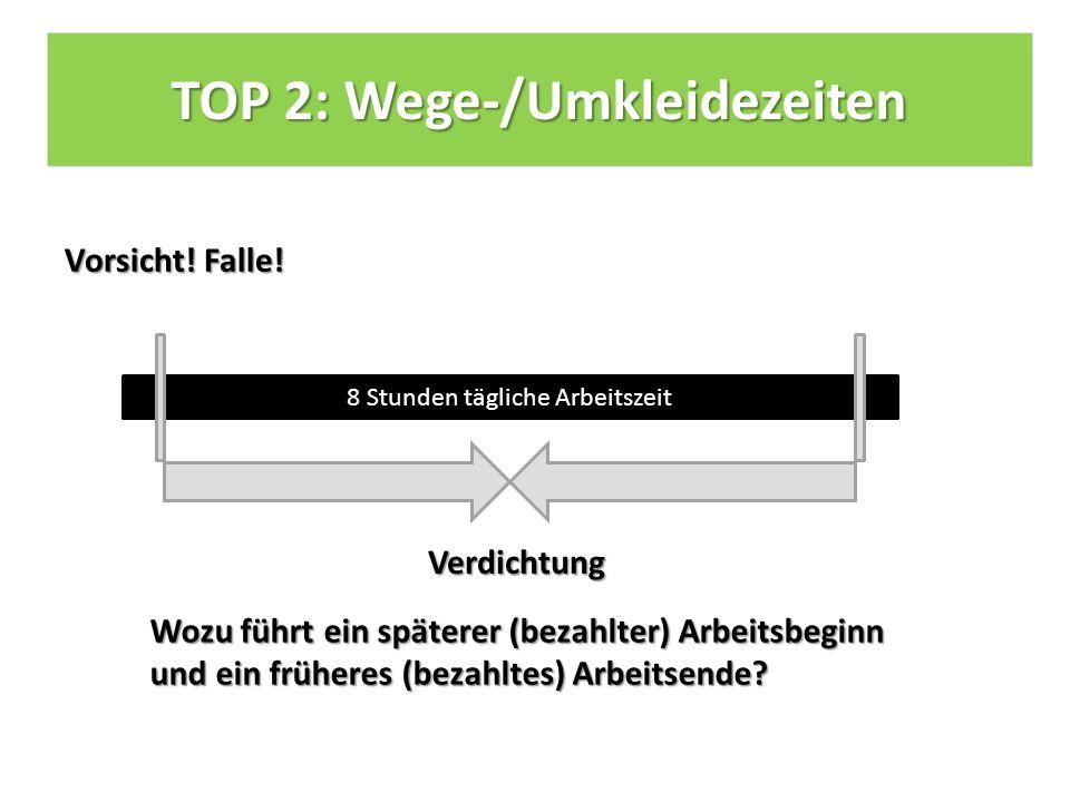 TOP 2: Wege-/Umkleidezeiten Vorsicht. Falle.