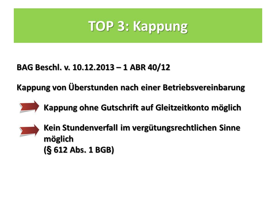TOP 3: Kappung BAG Beschl. v.