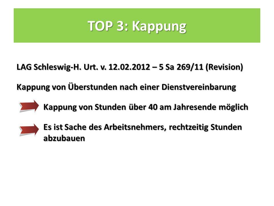TOP 3: Kappung LAG Schleswig-H. Urt. v.