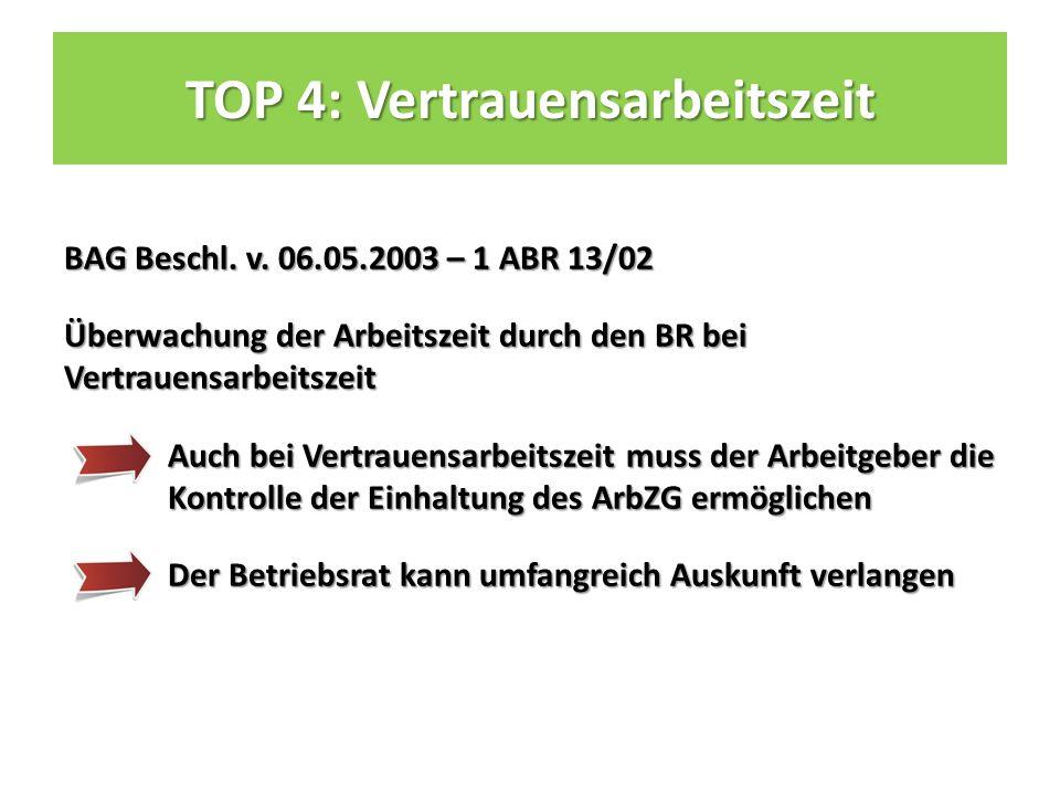 TOP 4: Vertrauensarbeitszeit BAG Beschl. v.