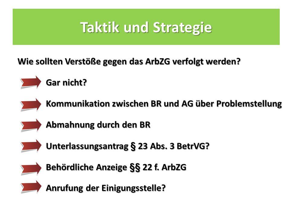 Taktik und Strategie Wie sollten Verstöße gegen das ArbZG verfolgt werden.