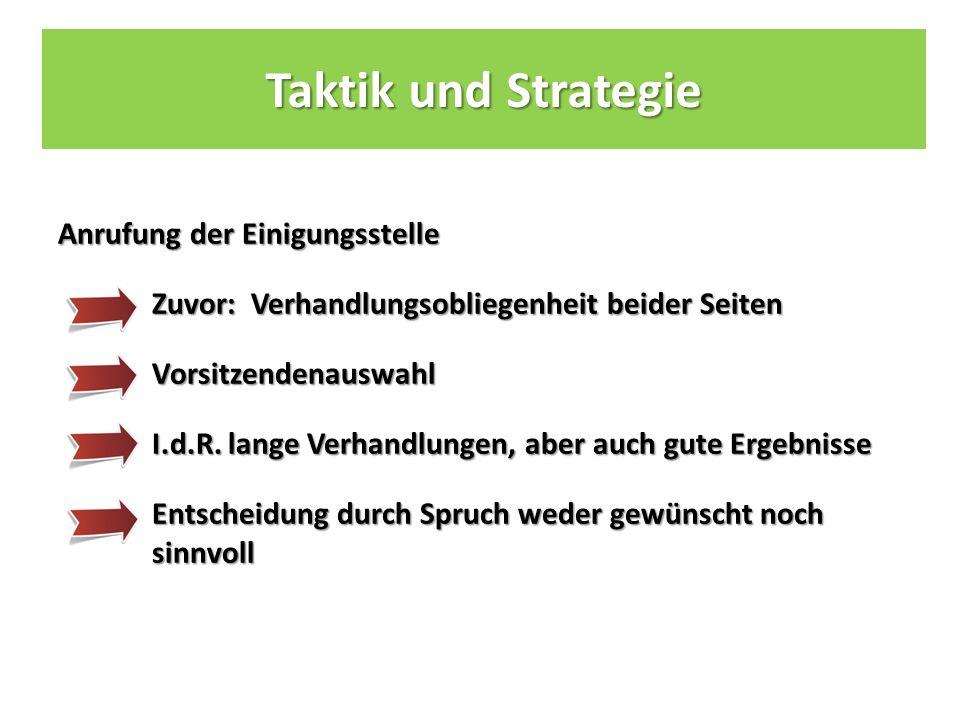 Taktik und Strategie Anrufung der Einigungsstelle Zuvor: Verhandlungsobliegenheit beider Seiten Vorsitzendenauswahl I.d.R.