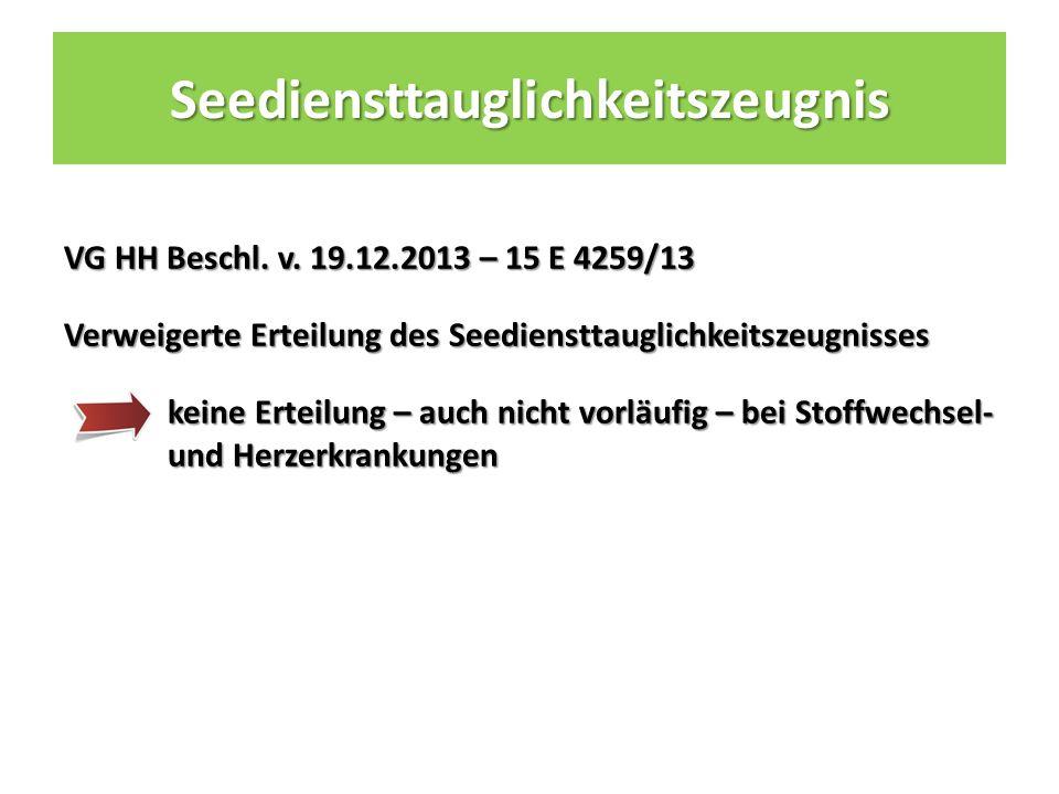 Seediensttauglichkeitszeugnis VG HH Beschl. v.