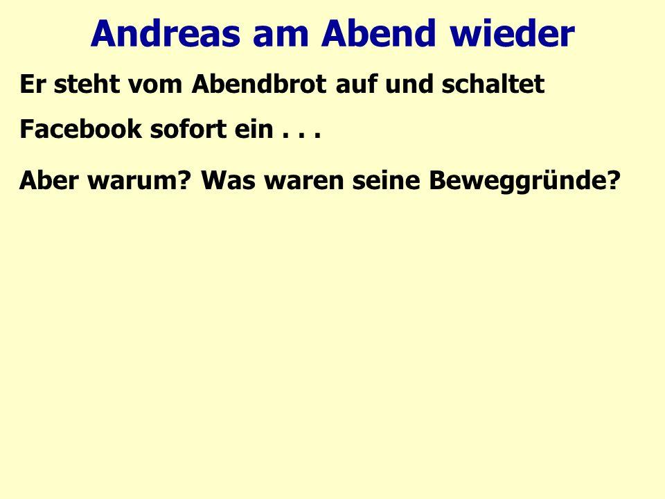 Andreas am Abend wieder Was waren seine Beweggründe? 1.Den Freund in seiner Prüfung ermutigen.