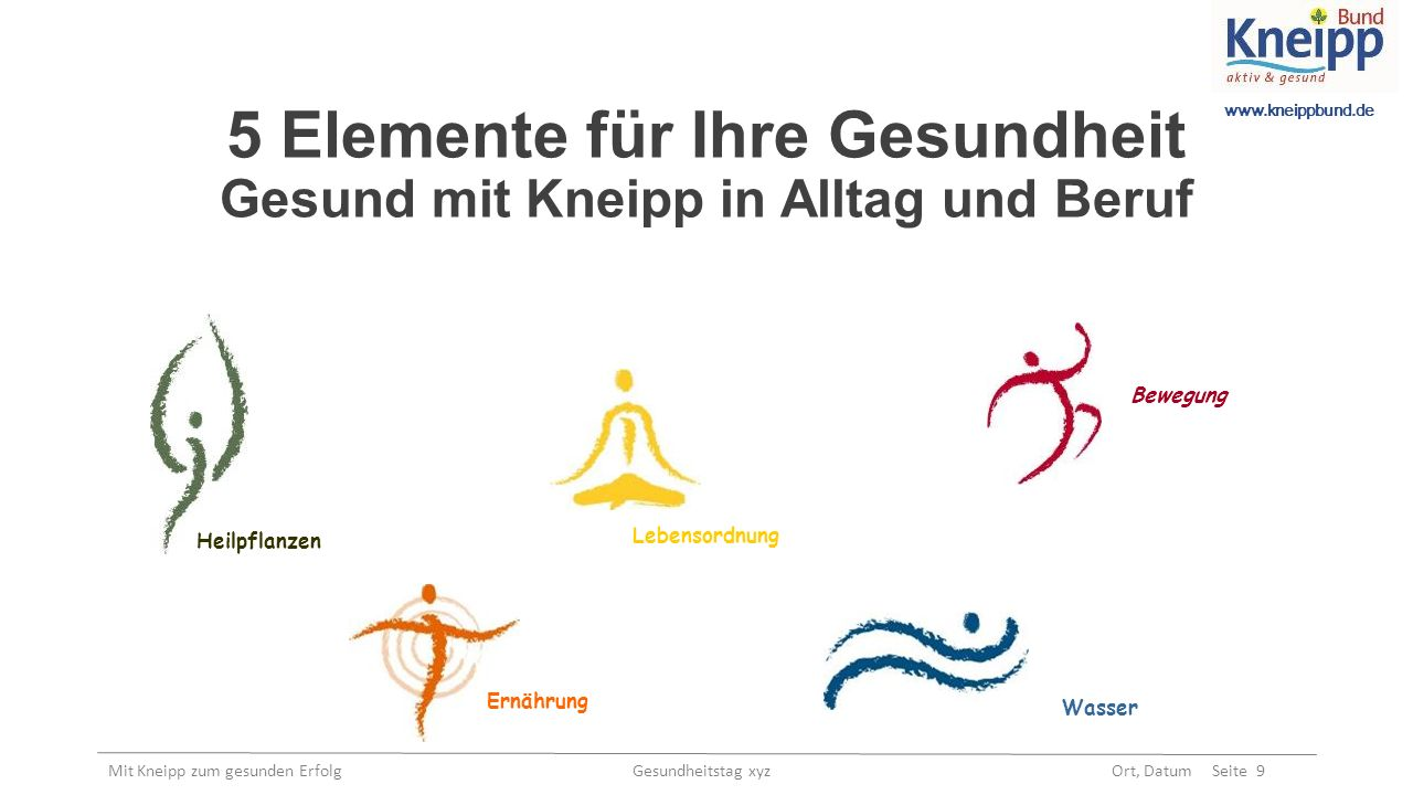 www.kneippbund.de Mit Kneipp zum gesunden Erfolg Gesundheitstag xyz Ort, Datum Seite 9 5 Elemente für Ihre Gesundheit Gesund mit Kneipp in Alltag und Beruf Bewegung Ernährung Wasser Lebensordnung Heilpflanzen