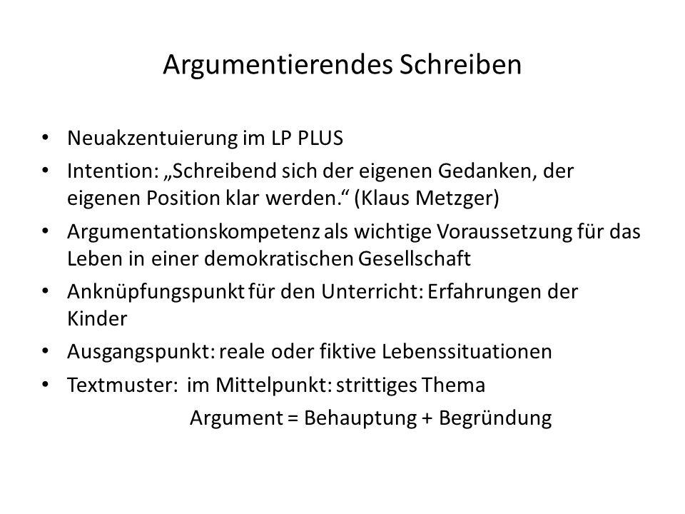 """Argumentierendes Schreiben Neuakzentuierung im LP PLUS Intention: """"Schreibend sich der eigenen Gedanken, der eigenen Position klar werden."""" (Klaus Met"""