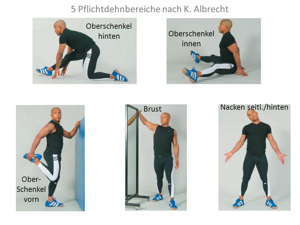 5 Pflichtdehnbereiche nach K. Albrecht Oberschenkel hinten Oberschenkel innen Ober- Schenkel vorn Brust Nacken seitl./hinten