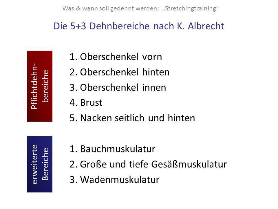 """Was & wann soll gedehnt werden: """"Stretchingtraining"""" Die 5+3 Dehnbereiche nach K. Albrecht 1.Oberschenkel vorn 2.Oberschenkel hinten 3.Oberschenkel in"""