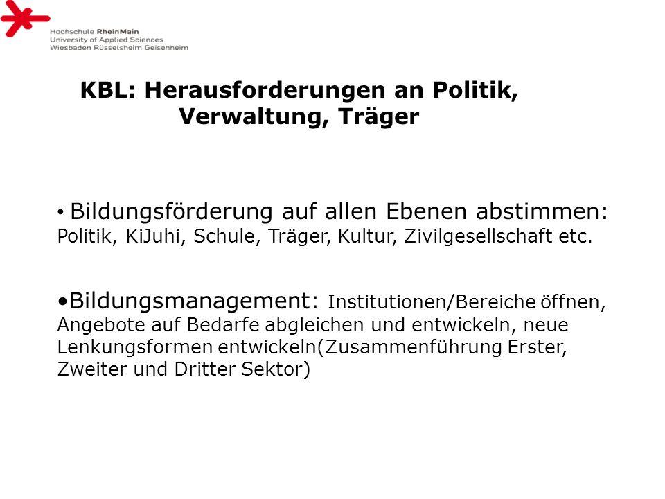 KBL: Herausforderungen an Politik, Verwaltung, Träger Bildungsförderung auf allen Ebenen abstimmen: Politik, KiJuhi, Schule, Träger, Kultur, Zivilgese