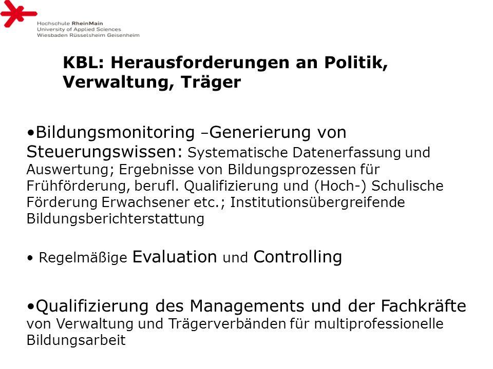 KBL: Herausforderungen an Politik, Verwaltung, Träger Bildungsmonitoring – Generierung von Steuerungswissen: Systematische Datenerfassung und Auswertu