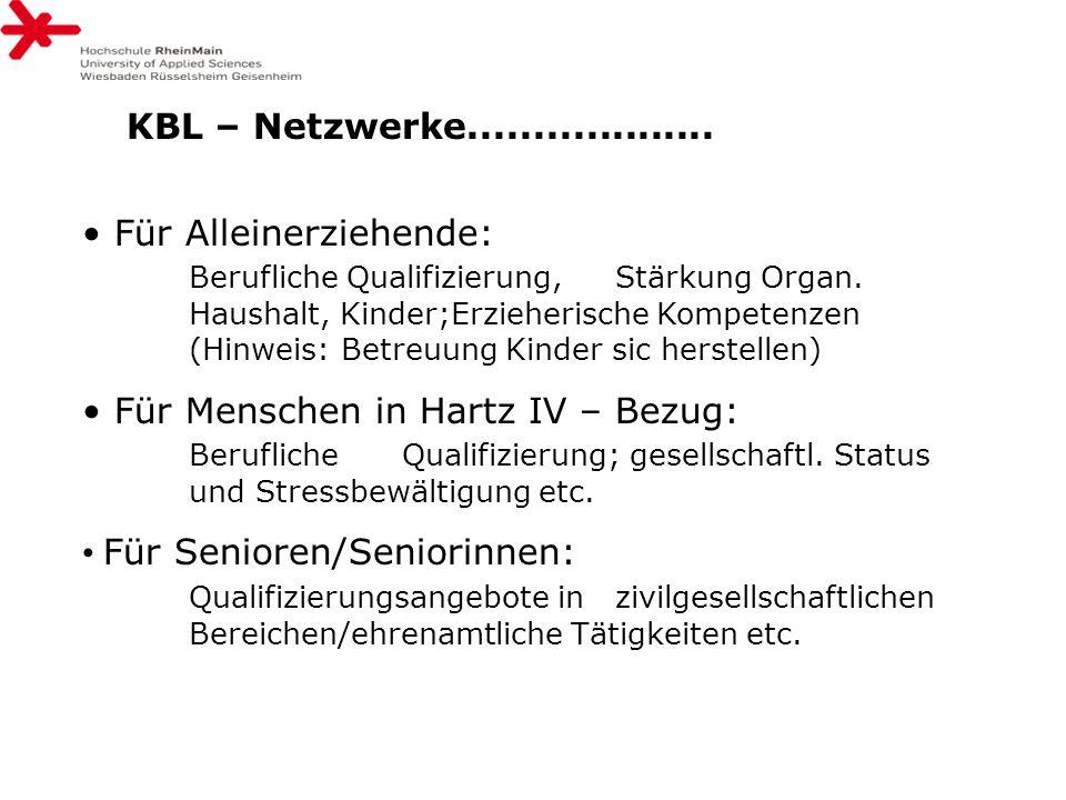 KBL – Netzwerke................... Für Alleinerziehende: Berufliche Qualifizierung, Stärkung Organ. Haushalt, Kinder;Erzieherische Kompetenzen (Hinwei