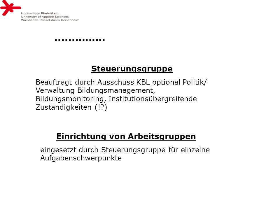 Steuerungsgruppe Beauftragt durch Ausschuss KBL optional Politik/ Verwaltung Bildungsmanagement, Bildungsmonitoring, Institutionsübergreifende Zuständ